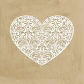 pic of paper cut out  - Vector paper cut lacy heart transparency effects applied - JPG