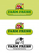 foto of farmhouse  - Farm Fresh Product Label with Farmhouse Vector Illustration - JPG