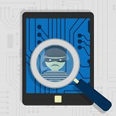 picture of malware  - Malware detected on tablet represented by a magnifying glass focusing on the figure of a thief - JPG