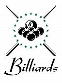 foto of snooker  - Billiards and snooker sports emblem with balls - JPG
