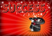 stock photo of magic-wand  - The word SUCCESS on glowing background with magic hat and wand  - JPG