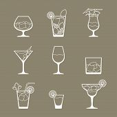 stock photo of bloody mary  - Alcohol drinks and cocktails icon set in flat design style - JPG