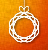 foto of applique  - Abstract Circle Paper Applique on Orange Background - JPG