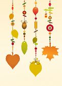 pic of windchime  - Illustration of Decorative Wind Chimes with floral leaf shape design - JPG