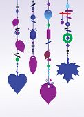 stock photo of windchime  - Illustration of Decorative Wind Chimes with floral leaf shape design - JPG