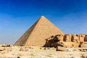 foto of the great pyramids  - The pyramid of Khufu completely empty of tourists above Cairo Egypt - JPG