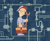 foto of sewage  - Comic cartoon mechanic repairs pipe construction iilustration - JPG