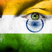 picture of ashok  - Flag painted on face with green eye to show india support - JPG