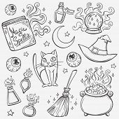 picture of witch ball  - Halloween witches attributes doodles set - JPG