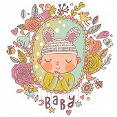 picture of bee cartoon  - Newborn baby card in bright colors - JPG