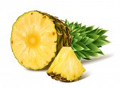 picture of tropical food  - Tropical ripe fresh pineapples - JPG