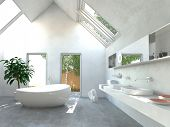 foto of apex  - Modern light bright bathroom interior with a double wall - JPG