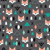 pic of scandinavian  - Seamless christmas fox geometric illustration modern trend background pattern in vector - JPG