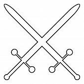 foto of crossed swords  - Crossed swords icon on white background - JPG