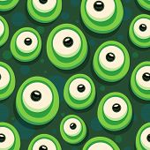 picture of ogre  - Seamless background with cartoon eyes of green monster - JPG