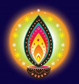 picture of kolam  - Indian new year diwali candle light illustration - JPG