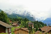 picture of chalet  - Switzerland landscape mountain Chateau and Chalet view - JPG