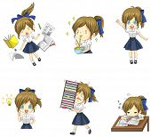 picture of bye  - Cute Thai schoolgirl student in various activities and emotion icon set 1 create by vector - JPG