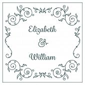 picture of ampersand  - Letterpress wedding invitation card template with floral ornaments and custom ampersand - JPG