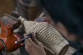 stock photo of wood craft  - Local crafts of Cambodia handmade wood carved - JPG