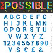 image of impossible  - ABC Font impossible letters 3d vector design - JPG