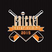 picture of cricket bat  - Cricket Championship 2015 sticker or label design with bats and ball on black background - JPG