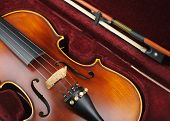 stock photo of violin  - Old violin with violin bow in case - JPG