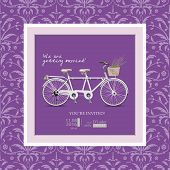 stock photo of tandem bicycle  - Postcard invitation to the wedding - JPG
