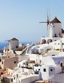 stock photo of west village  - Windmill in Oia Santorini - JPG