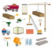 stock photo of elevator icon  - construction of buildings colored vector icons on white background - JPG