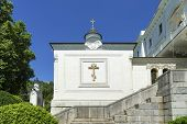 stock photo of exaltation  - wall of the church in the territory of Livadia Palace - JPG