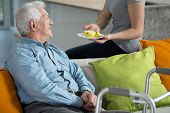 stock photo of older men  - Young female caregiver giving the fruit to older man - JPG