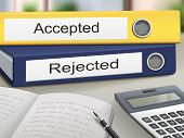 image of reject  - accepted and rejected binders isolated on the office table - JPG