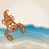 stock photo of scorpion  - Cartoon of a funny scorpion with water wave on stylish background - JPG