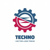 Постер, плакат: Techno vector logo concept illustration Gear logo Factory logo Technology logo Mechanical logo