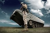 foto of soldier  - Military tank and soldier outdoors - JPG