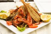 foto of squid  - Delicious fish with shrimp and squid fried - JPG