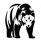 stock photo of grizzly bear  - grizzly bear black and white vector design  - JPG