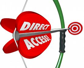 picture of bow arrow  - Direct Access words on a bow and arrow aimed at a target to illustrate accessible service and convenience offered by your business or organization - JPG