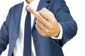 foto of fuck  - Businessman in Blue Suit Show Middle Finger or Fuck You Sign Isolated on White Background - JPG