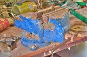 stock photo of workbench  - Photo shows closeup details of an old workbench - JPG