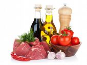picture of condiment  - Fillet steak beef meat with spices and condiments - JPG