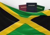 picture of jamaican flag  - Jamaican flag and three passports in different colors - JPG