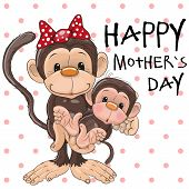 pic of baby-monkey  - Greeting card Two Monkeys a mother and a baby daughter - JPG