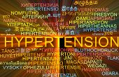 picture of hypertensive  - Background concept wordcloud multilanguage international many language illustration of hypertension glowing light - JPG
