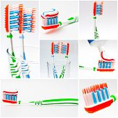pic of toothpaste  - photo collage of a toothbrush with toothpaste - JPG