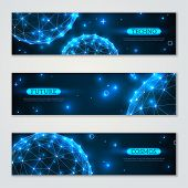 stock photo of polygon  - Banners set with wireframe polygonal elements - JPG