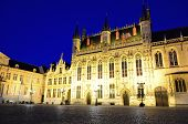 image of city hall  - Beautiful architecture of Bruges City Hall and Burg square at night Belgium - JPG