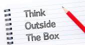 pic of thinking outside box  - Think Outside the Box Text written on notebook page red pencil on the right - JPG