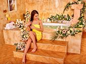 picture of tub  - Woman relaxing at water spa - JPG